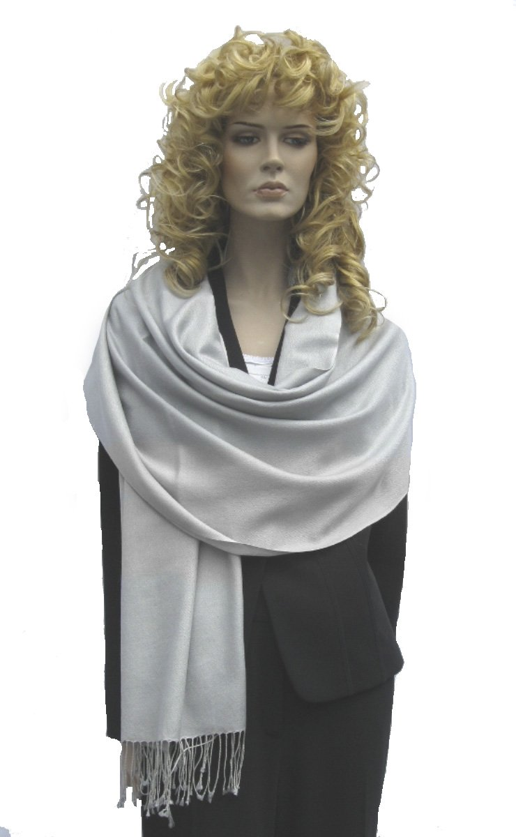 Cashmere Pashmina Group: Cashmere Pashmina Scarf/Shawl/Wrap (3-Ply Solid colors) - Silver Grey