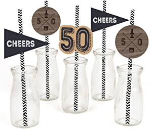 50th Milestone Birthday - Dashingly Aged to Perfection Paper Straw Decor - Birthday Party Striped Decorative Straws - Set of 24