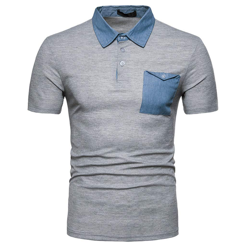 Mens Top ! Casual Summer Solid Turn-Down Collar Short Sleeve T-Shirt Tops Blouse By Charberry