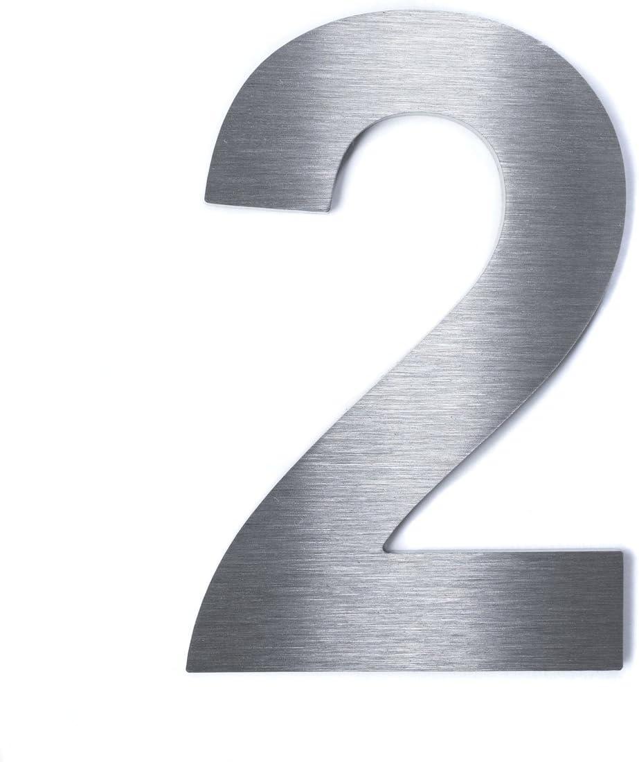 Hochwertige Edelstahl V2A Hausnummerklassisch grob geschliffen inkl Befestigung H/öhe: 200mm - Materialst/ärke: 2mm, 8