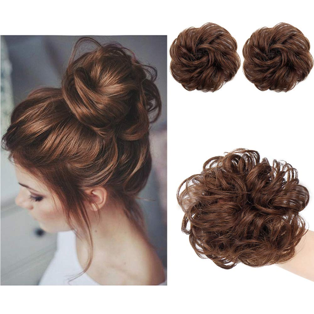 AISI QUEENS 100% Human Hair Bun Extensions 2PCS Curly Wavy Messy Bun Hair Extension Scrunchies Elegant Chignons Wedding Hair Piece for Women and Kids(Color:4# Medium Brown) by AISI QUEENS