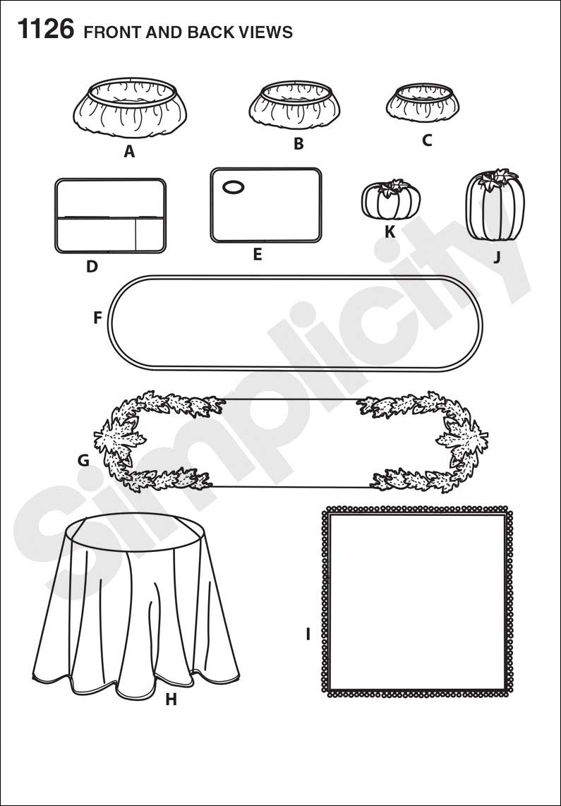 Simplicity 1126 Home Goods Table Accessories Sewing Pattern Sizes Vary