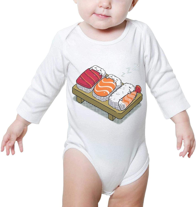 PoPBelle Three Sleeping Sushi Baby Onesies Outfits Long Sleeve Organic Cotton Unisex