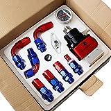 SYM TOP Adjustable Fuel Pressure Regulator AN6 Hose End Fittings Oil Line And Gauge Kit - Red and Blu