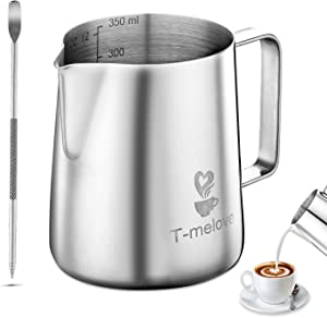 Milk Frothing Pitcher 350ml/12oz 304 Stainless Steel Mike Jug Espresso Steaming Pitcher Coffee Milk Frother Cup with Decorating Art Pen (12oz / 350ml)