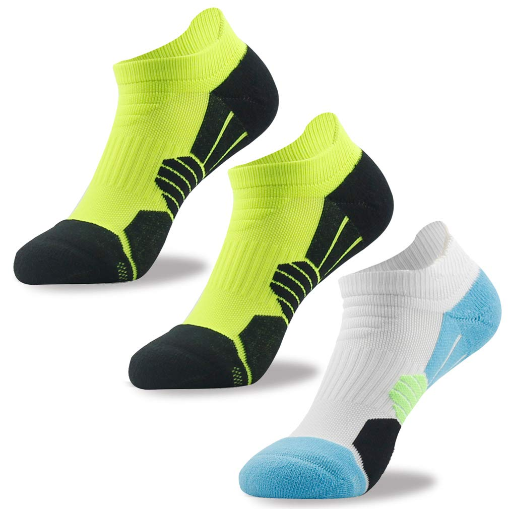 NIcool Womens Ankle Socks, Running Athletic Sport Cushion Casual Socks With Tab, 3 Pairs, Green White by NIcool