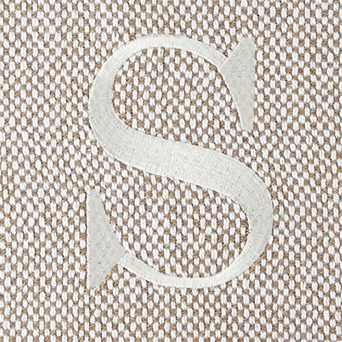 Mud Pie Woven Cotton Initial Throw Blanket-S, Taupe