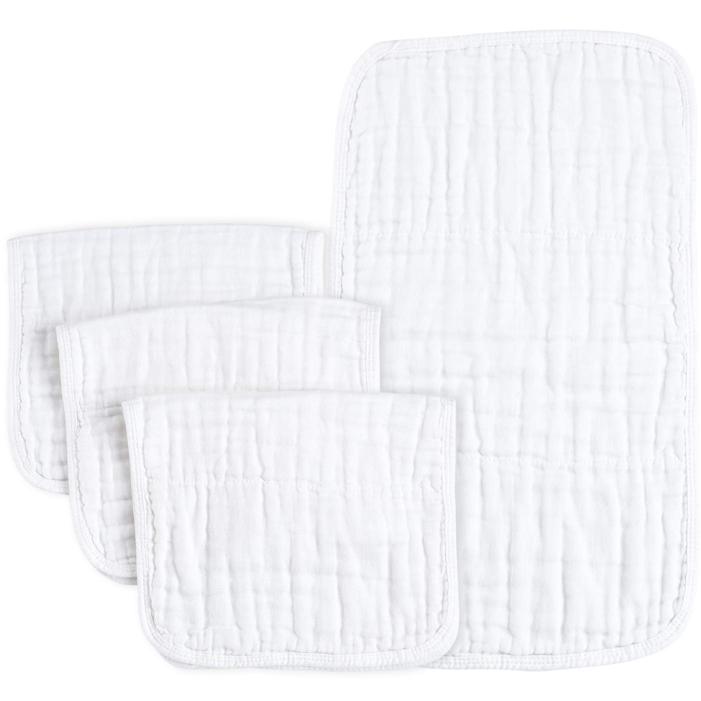 PPOGOO Muslin Burp Cloths 100% Cotton, White, 4 Pack, Large 21''x10'', 6 Layers Soft and Absorbent
