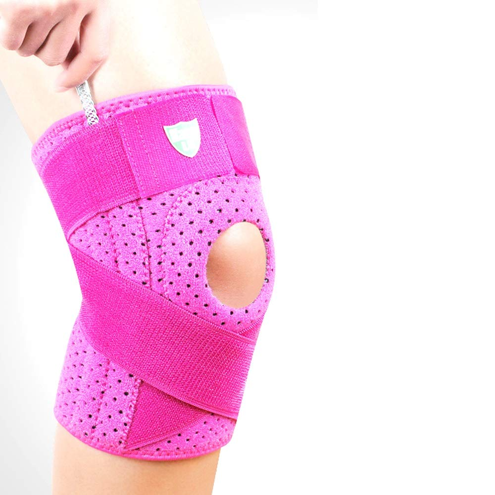 TY BEI Kneepad Sports Knee Pads Men and Women Sports Outdoor Activities Warm Knee Pads - Black and Rose Red Optional @@ (Color : Rose red)