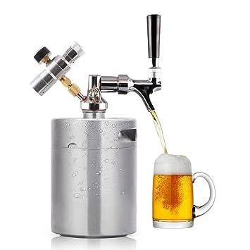 Min barril de cerveza dispensador de sistema CO2 ajustable regulador de proyecto de cerveza de grifo con barriles de cerveza de acero inoxidable y mango: ...