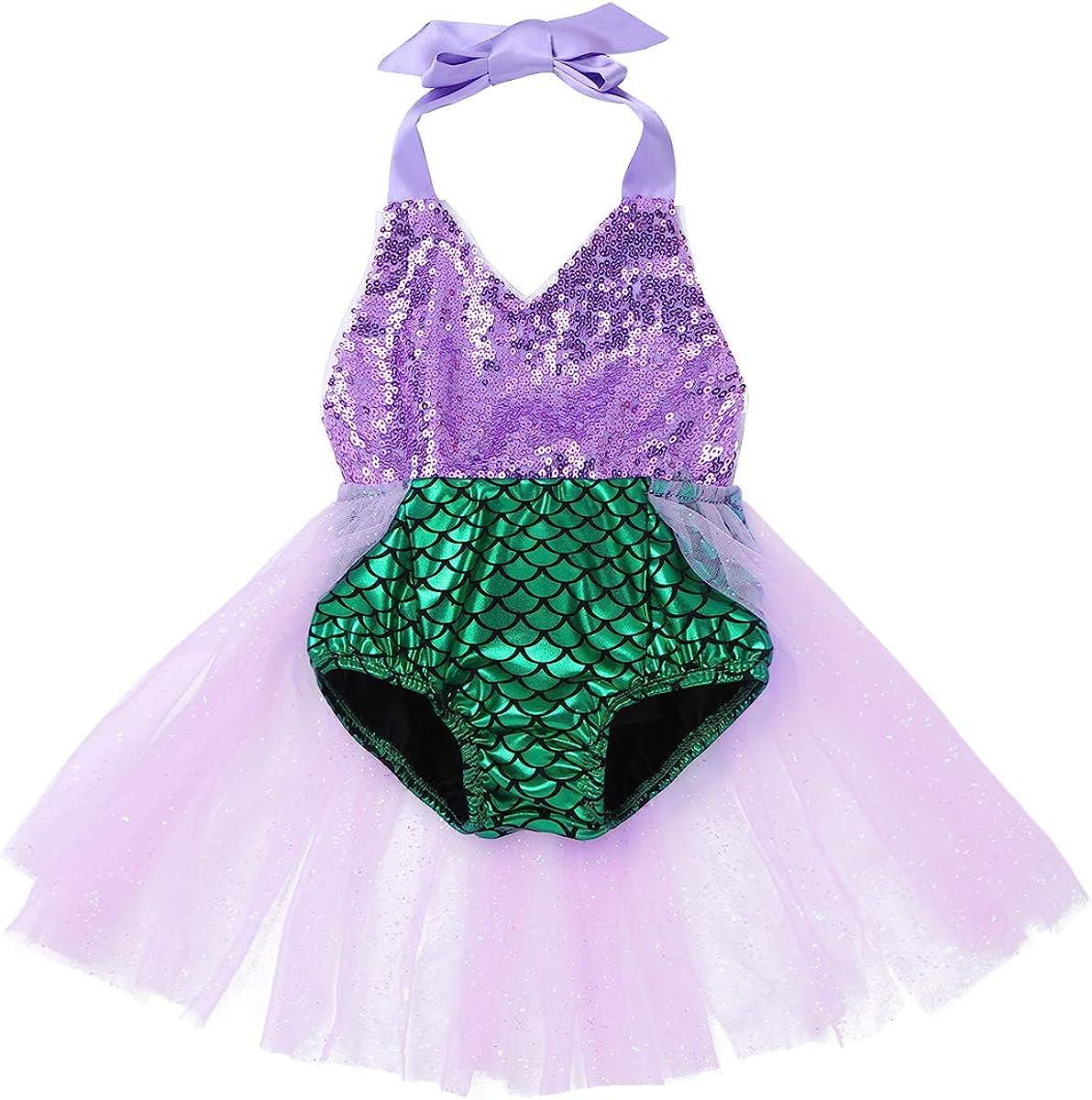 Agoky Robe de Sir/ène Paillette Brillant B/éb/é Enfant Fille D/éguisement Sir/ène Princesse Cosplay Costume Halloween Tutu Robe Danse Ballet Justaucorps Gymnastique 0 Mois-3 Ans