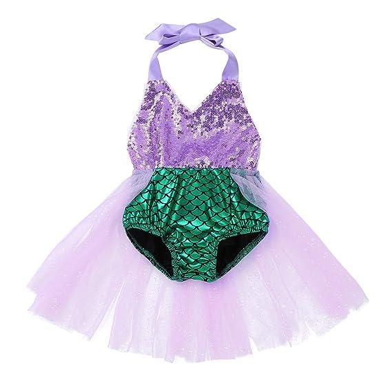 MSemis Traje de Baño Una Pieza Disfraz Sirenita para Bebés Niñas Bañador Sirena Bebés Body Vestido Fiesta Cumpleaños Traje Disfraces Halloween Navidad