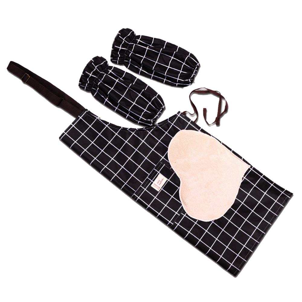 Waterproof Kitchen Cooking Apron Adjustable Neck with Pockets Black Checkered Home Cleaning Apron for Women Man Vinyl Waterproof and Oil-proof Apron 2 piece set with Towels on Both Sides