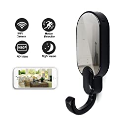 Daretang 1080p Super Hidden Night Vision Wifi Spy Clothes Hook Camera