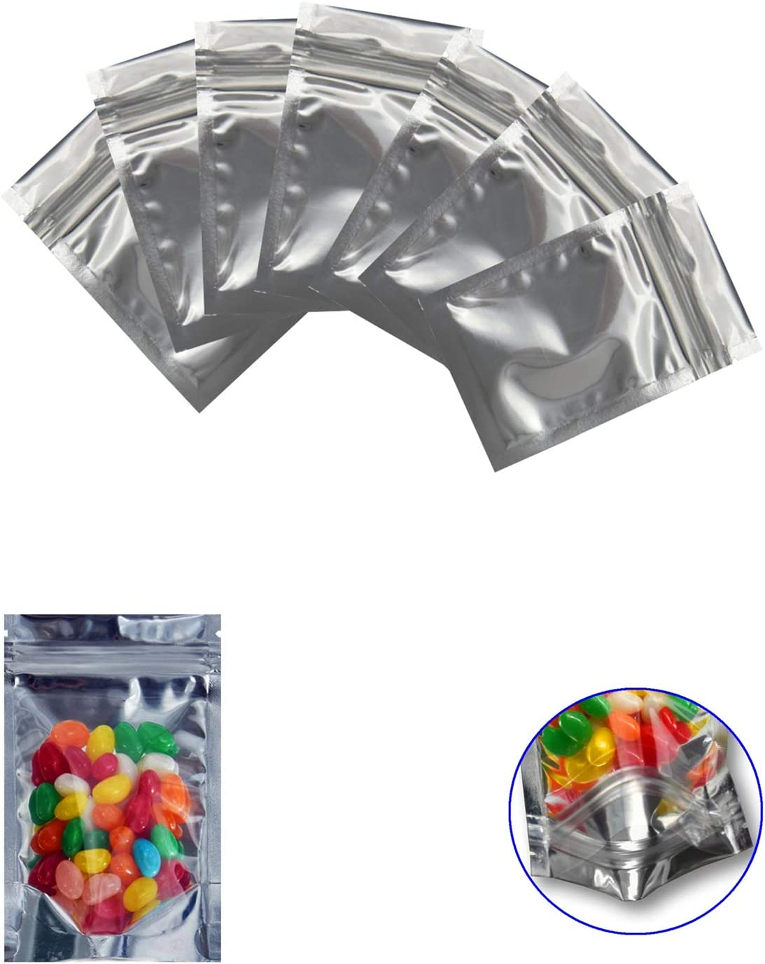 Xinhongo 200 Pack Resealable Mylar Bags Smell Proof Pouch Aluminum Foil Packaging Plastic Ziplock Bag,Clear Zip lock Food Safe Small Mylar Storage Bags For Bulk Candy,Jewelry,Snack Food,2.8x5.1 inch