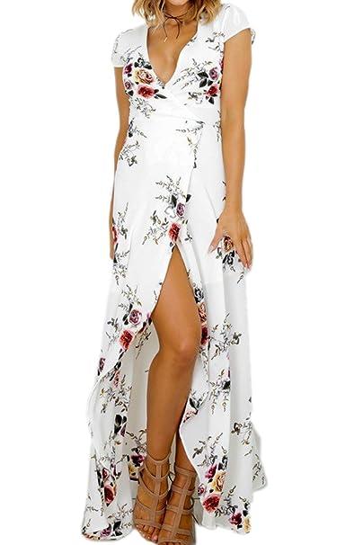 Yacun Mujer Verano Vestido de Playa Maxi Irregular Flores Partido del