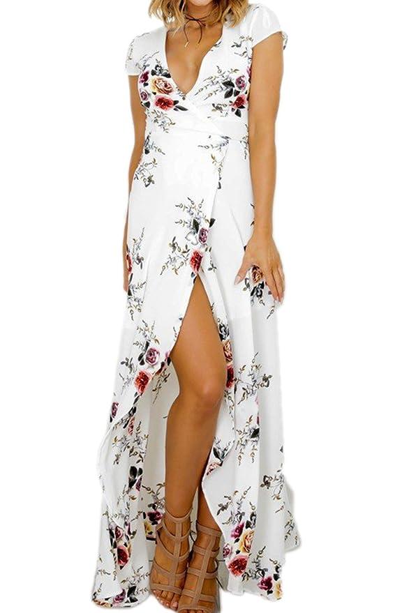 Mujer Verano Vestido de Playa Maxi Irregular Flores Partido Del: Amazon.es: Ropa y accesorios
