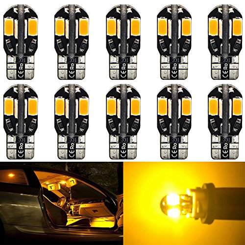 10-Pack T10 194 168 168 2825 Extremely Bright Amber/Yellow 200Lums Canbus Error Free 12V LED Light,8-SMD 5730 Chipsets Car Replacement Bulb For Map Dome Courtesy License Plate Side Marker Light