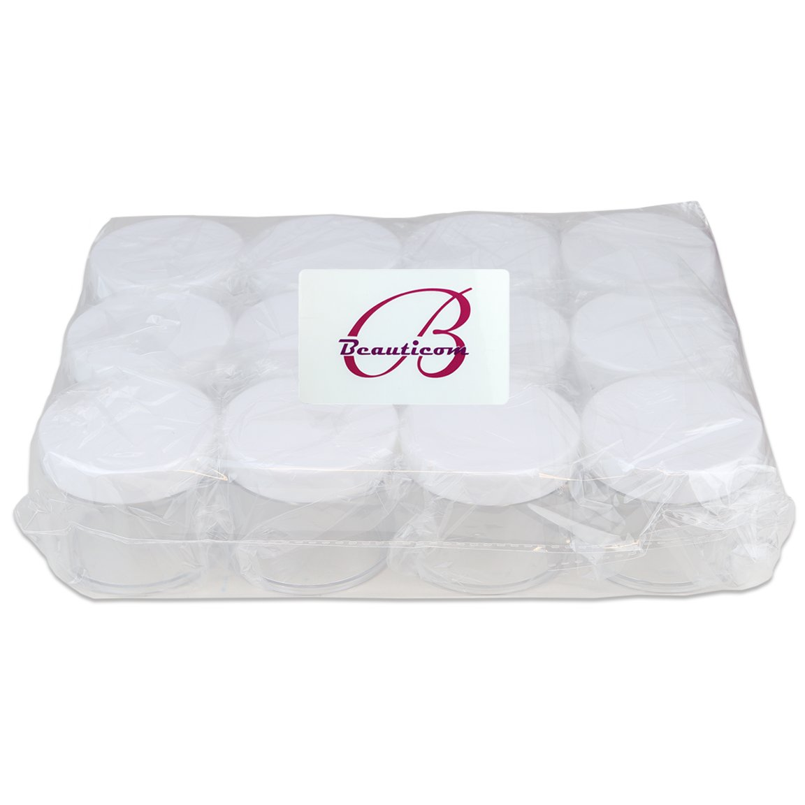 Beauticom 60 Grams/60 ML (2 Oz) Round Clear Leak Proof Plastic Container Jars with White Lids for Travel Storage Makeup Cosmetic Lotion Scrubs Creams Oils Salves Ointments (12 Jars) by Beauticom® (Image #4)