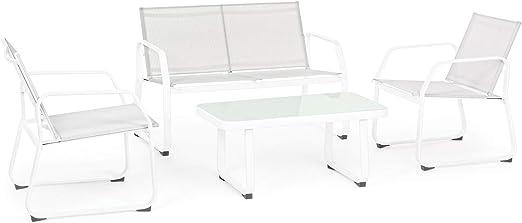 Bizzotto AXTEN - Juego de Muebles de jardín para Exterior, de Acero, Color Blanco: Amazon.es: Jardín