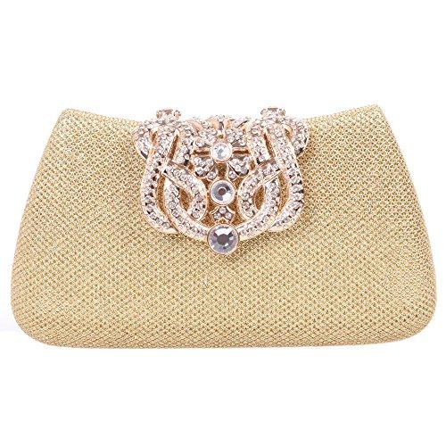 Evening Glitter Gold Bags Girls Clutch Bonjanvye for Bling Crown Purse xE7xzYqF