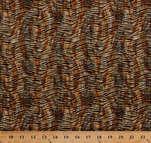 Cotton Tiger Stripes Africa African Safari Animal Print Skin Striped It's a Jungle Out There Cotton Fabric Print by The Yard (CD-15006-001)