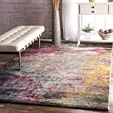 Contemporary Smoke Clouds Abstract Multi Area Rugs, 5 Feet by 8 Feet (5' x 8')