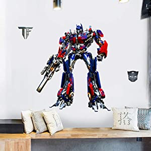 TENG YU Optimus Prime Transformers Wall Decal 3D Peel and Stick Wall Stickers Vinyl Wall Decals for Boys Bedroom Living Room Home Decor(Size:15.7 x 23.7 inch )