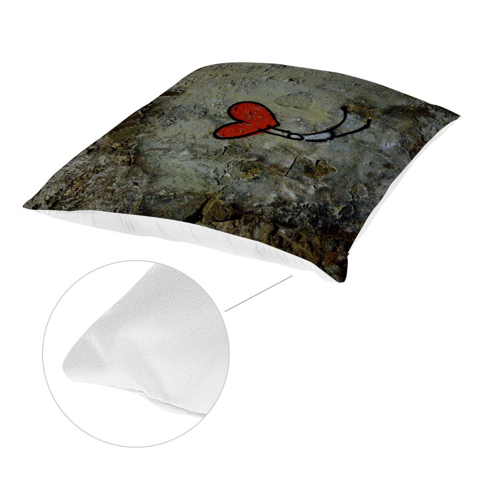 TANGGOOD Decorative Square Throw Cushion Cotton Hand Made Cushion Covers For Chairs Wall Graffiti Heart 18x18 Inch