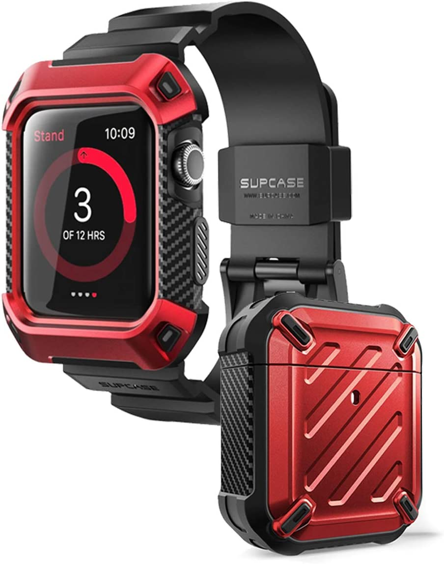 SupCase Unicorn Beetle Bundle (Red) - Apple Watch 3 42mm & Airpods Case