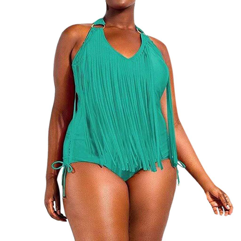 Womens Plus Size Tassel Braided Fringe One Piece Monokini Swimsuits Halter Padded Solid Bikini Set (XXXL, Mint Green) by Womens Bikini Hechun
