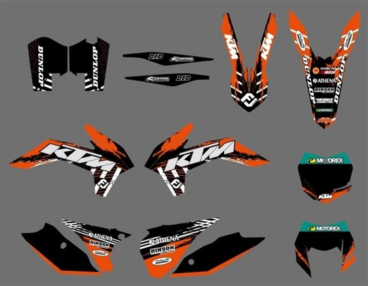 Motocross 6 Styles Moto Bull Snowbird Graphiques Stickers Autocollants for KTM 125 200 250 300 450 500 EXC XCW XCF XCFW EXCF 2014 2015 2016 Color : Army Green