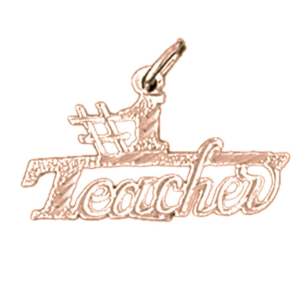 14K Rose Gold-plated 925 Silver #1 Teacher Pendant with 18 Necklace Jewels Obsession #1 Teacher Necklace