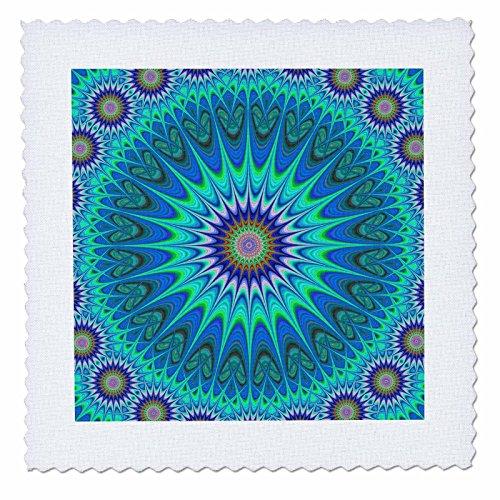 Four Star Round Comforter - 3dRose David Zydd - Star Mandalas - Cool Mandala - Round Abstract Star Ornament - 12x12 inch Quilt Square (qs_284061_4)