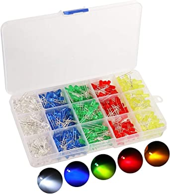 100 Piece Clear LED light diffuses Diode LED Lamp Mixed Kit 10 Colours 5 MM