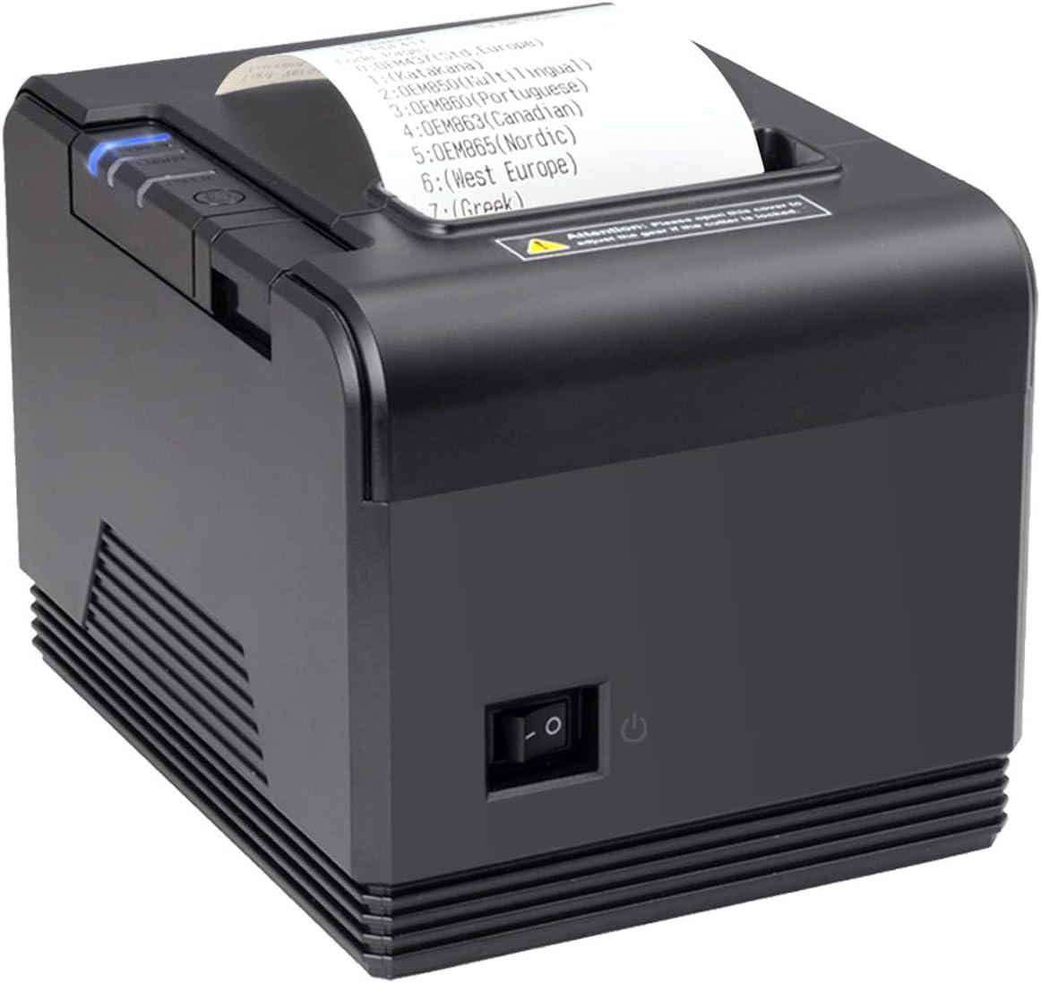 [Generación 2.0] Impresora Térmica de Tickets, 300 mm/s, POS Tikitera 80 mm, Corte Automático, Impresora de Recibos de Comando ESC/POS, Compatible con Windows/Linux, Negro