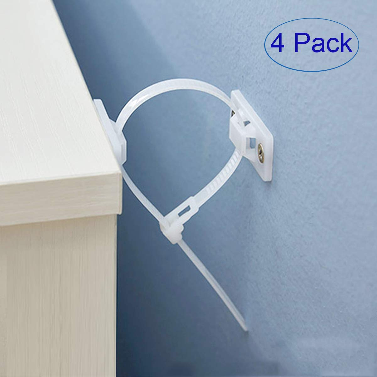 Anti-Tip Furniture Anchor Straps(4 Pack),Anti-Tilt Furniture Anchors Kit,Child Anchors for Dresser and Bookshelf,Adjustable Child Secure Straps for Bookshelf, Cabinet, Dresser,Furniture.(White)
