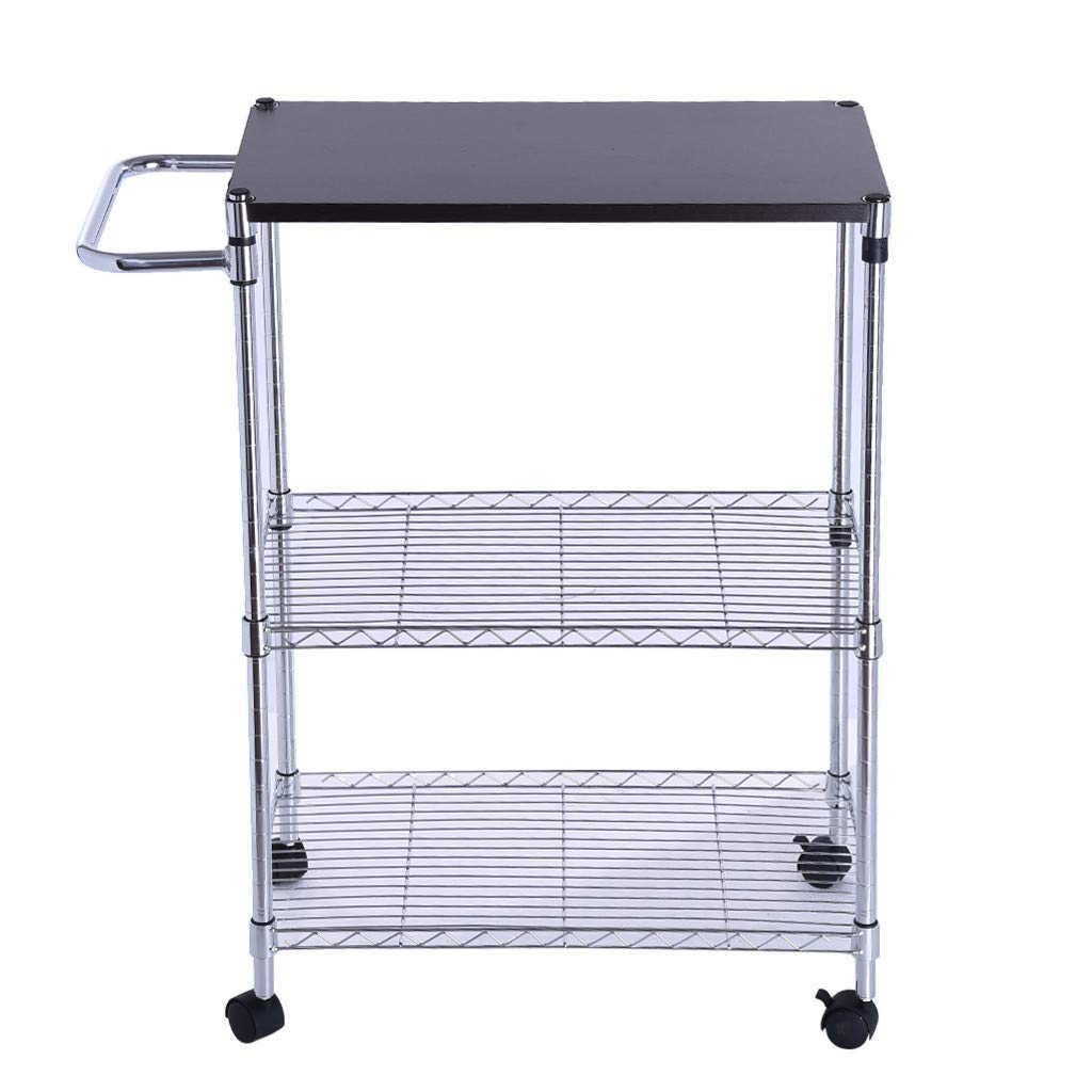 Auvem Wheeled Wooden Cart Storage Rack, 3-Tier Multi-Function Utility Kitchen Supplies Stand Microwave Cart with Handles and Shelves (Silver)