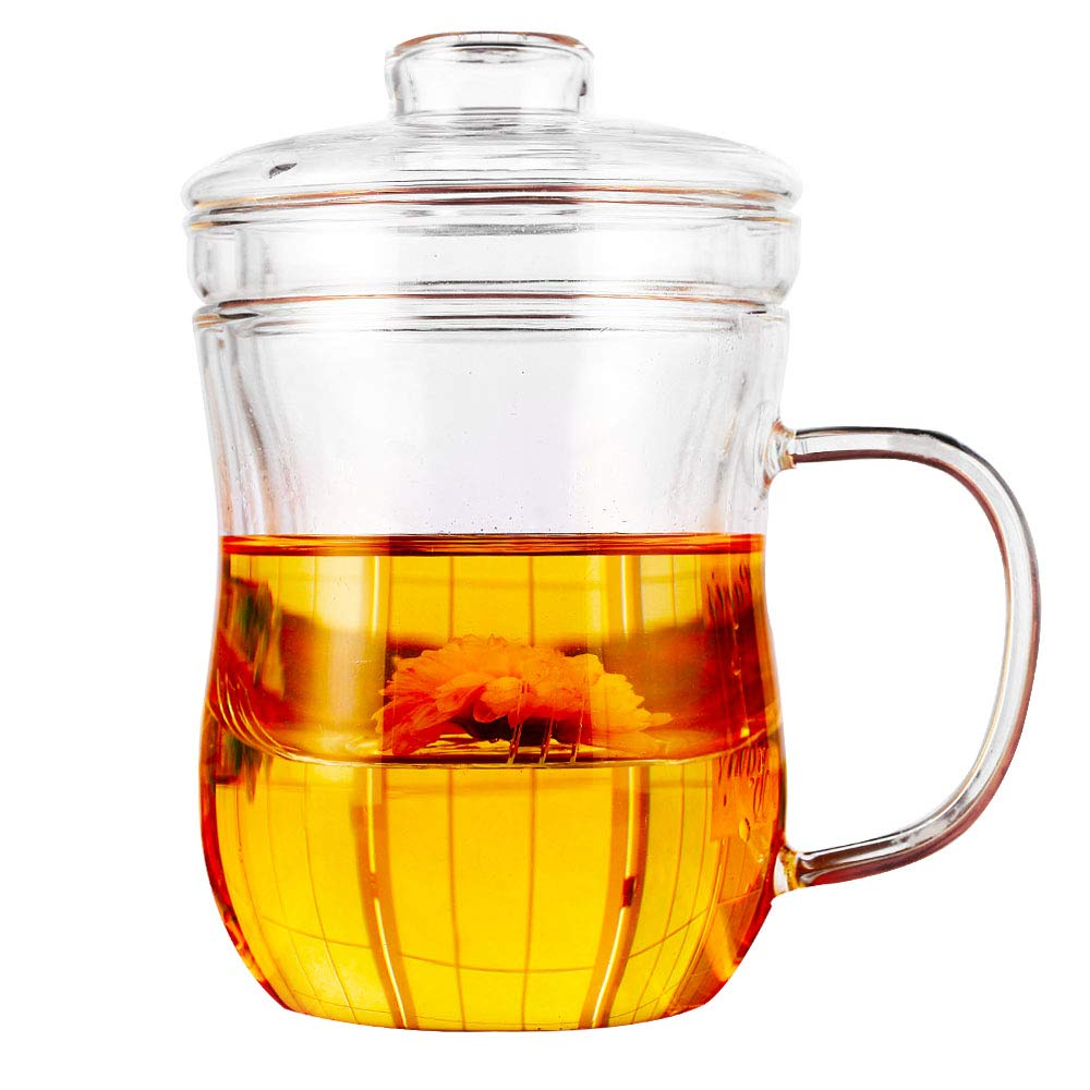 Cupwind Borosilicate Glass Teapot 17 oz Office Tea Tile Filtration Cup Tea-For-One Set with Lid Thickened Heat-Resistant Stovetop Safe ELETON
