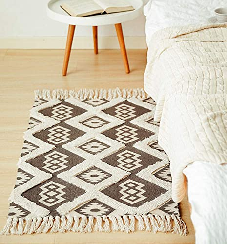 2 x3 Indoor Outdoor Lightweight Diamond Area Rugs Woven Cotton Tufted Talssels Durable Rug Mat Bohemian Machine Washable Fringe Throw Rugs with Non-Skid Mats