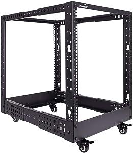 NavePoint 12U Professional 4-Post IT Open Frame Server Network Relay Rack Black