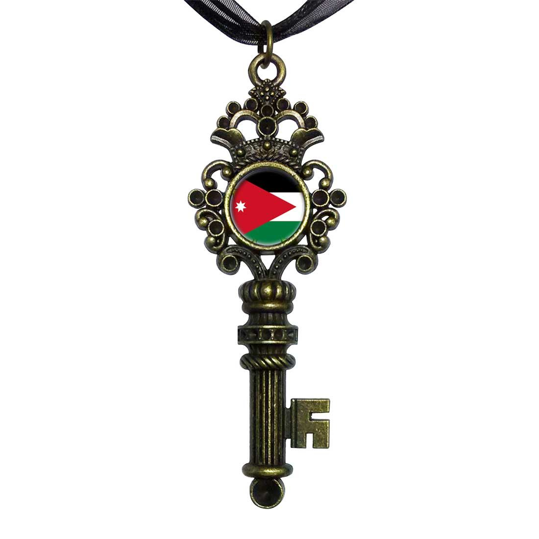 GiftJewelryShop Bronze Retro Style Jordan flag Vintage Keys Charm Pendant Necklace