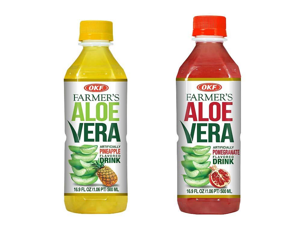 OKF Farmer's Aloe Vera Drink, Pineapple and Pomegranate, 16.9 Fluid Ounce (Pack of 20 each)