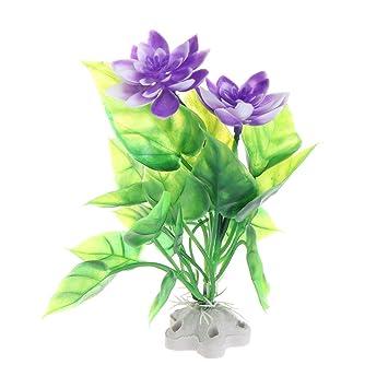 LANDUM Loto Acuático Plantas Artificiales Tanque de Peces Adornos de Acuario Flor Rosa Púrpura Púrpura: Amazon.es: Hogar