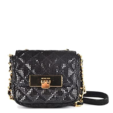16620b67d423 MICHAEL Michael Kors Susannah Lock Quilted Patent Snake Messenger Bag one  size Black
