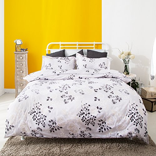 Duvet Cover and Pillow Shams 3 Piece Comforter Set, Hypoallergenic Breathable Soft Microfiber Bedding Collection with Hidden Zipper and Tieback in Black and White - Tie Flowers Black Collection White