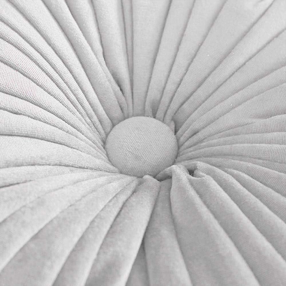 Coussin D/écoratif Velours Coussin Pliss/é en Citrouille 38cm Tatami Coussin De Sol Rond pour La Maison Jardin Ext/érieur D/écor De Patio Voiture Bleu Clair Dricar Coussin Rond