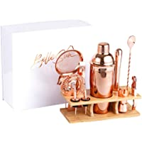 Rose Gold Bartender Kit - Mixology Cocktail Shaker Set with Bamboo Stand - Bar Set Includes 750ml Shaker, Muddler, Nip…