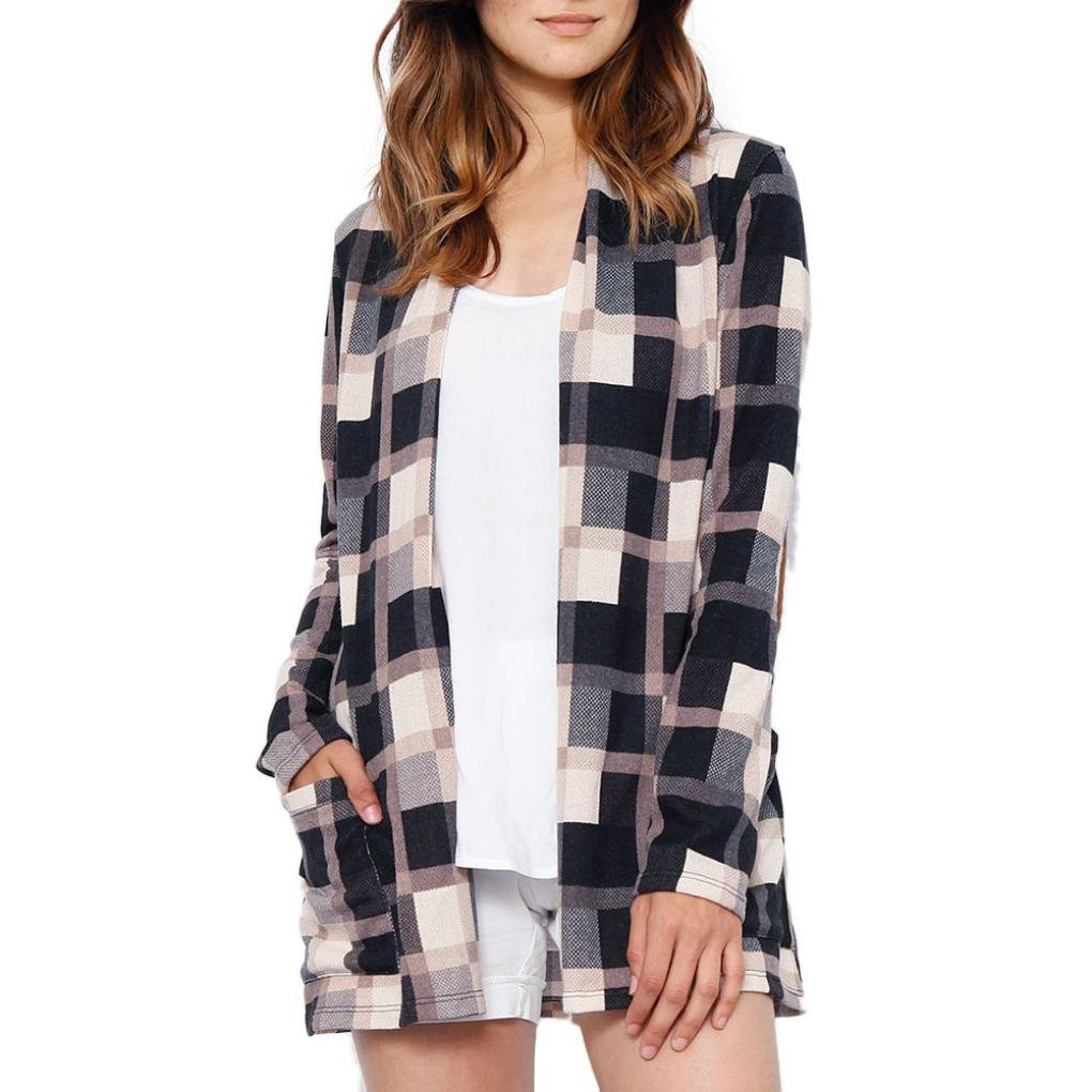 Pervobs Blouses, Big Promotion! Women Ladies Casual Plaid Long Sleeve Loose Shirts Cover Ups Cardigan Jacket Coat Outwear (XL, Khaki) by Pervobs Women Long-Sleeve Shirts (Image #1)
