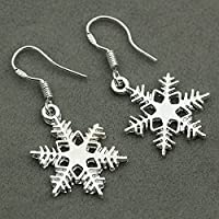 1pair 925 Silver Snowflake Dangle Drop Hook Earrings Jewelry Xmas Gifts